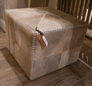 Jamie Young Large Ottoman Grey Hide