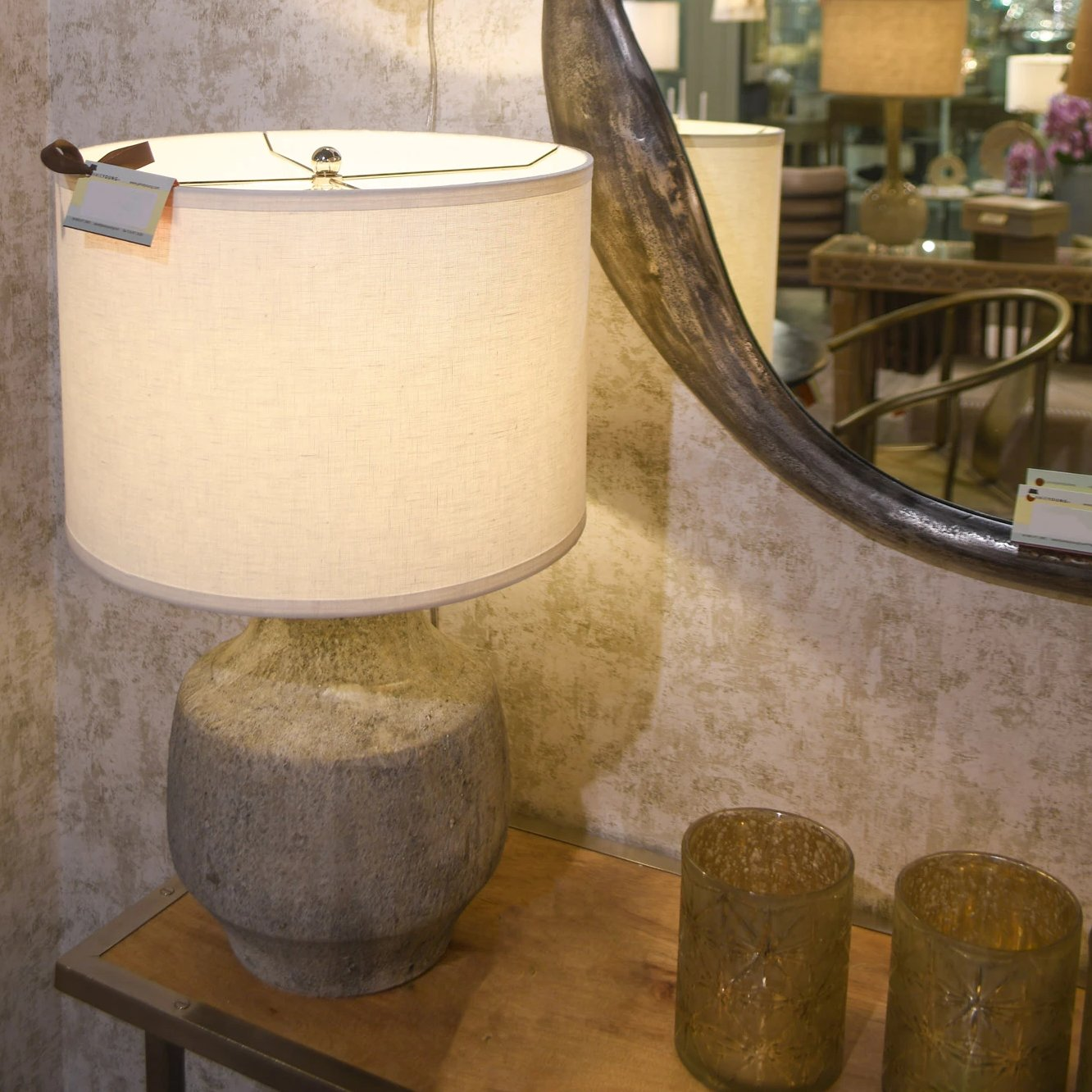 jamie young masonry table lamp concrete grey