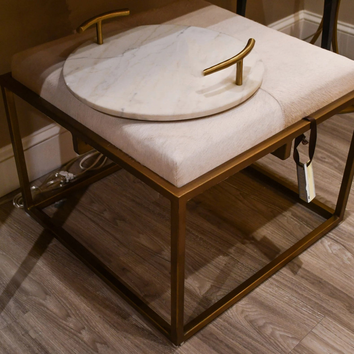 jamie young shelby stool white hide seating metal brass
