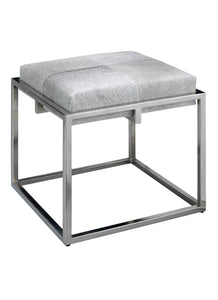 Jamie Young Shelby Stool Nickel Grey Hide