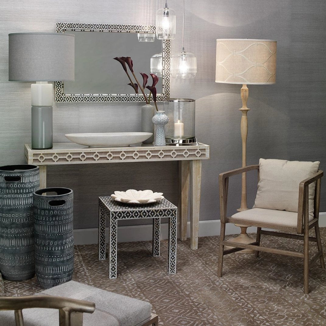 Jamie Young Shelby Grey Hide Stool Clayton Gray Home