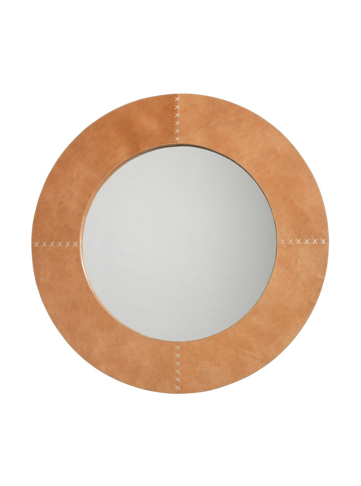 Jamie Young round cross stitch mirror buff 1-1207