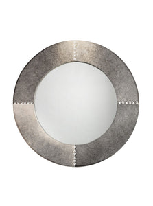 Jamie Young round cross stitch mirror grey 1207