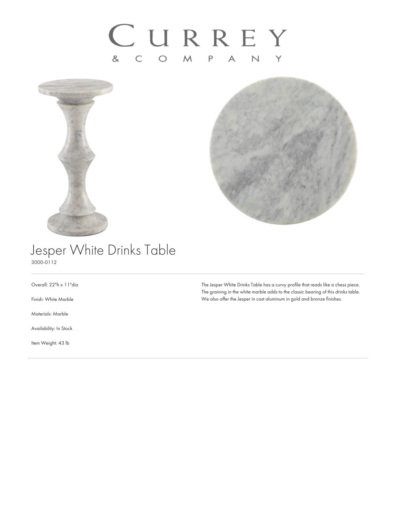 Currey & Company Jesper White Drinks Table Tearsheet
