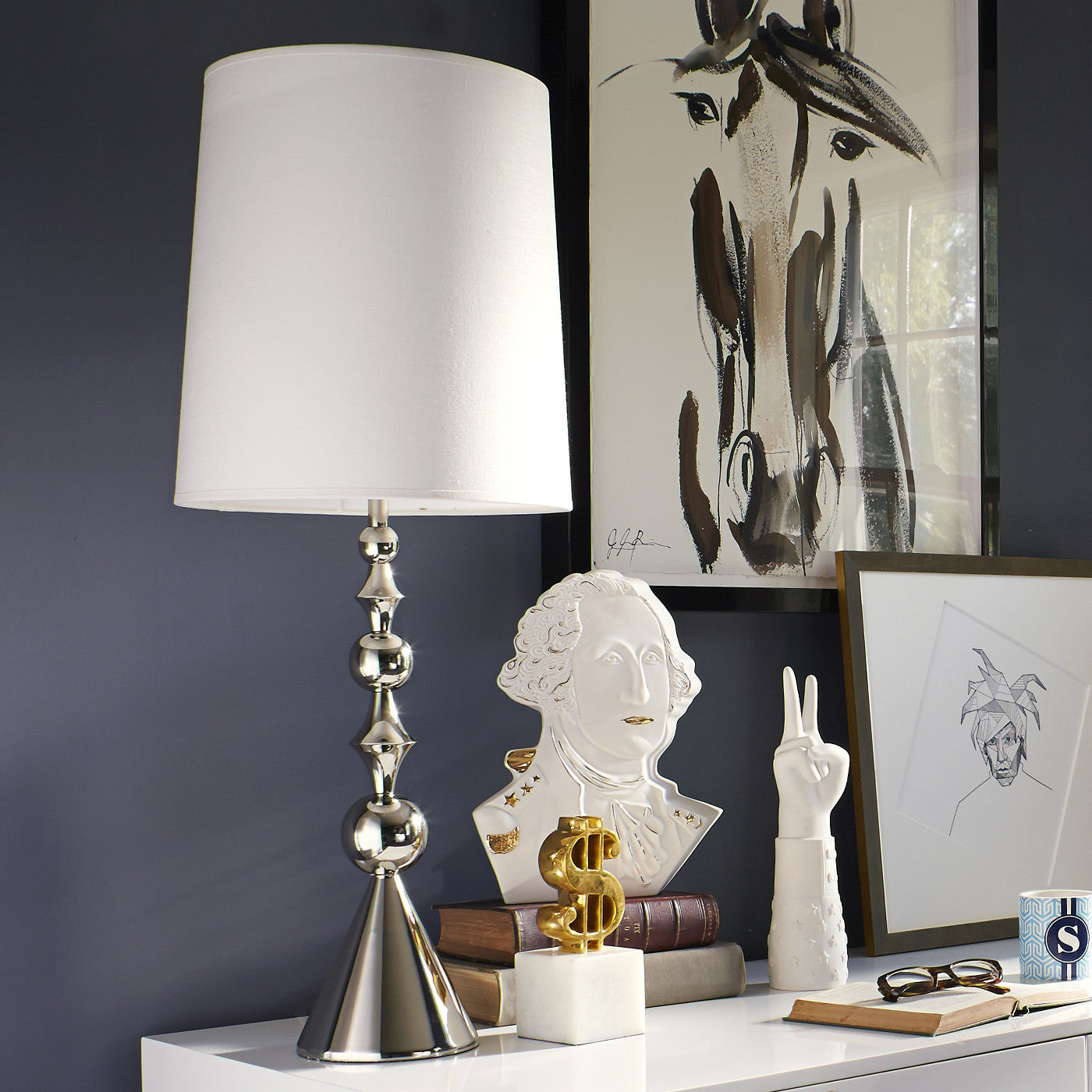 jonathan adler harlequin table lamp nickel in room
