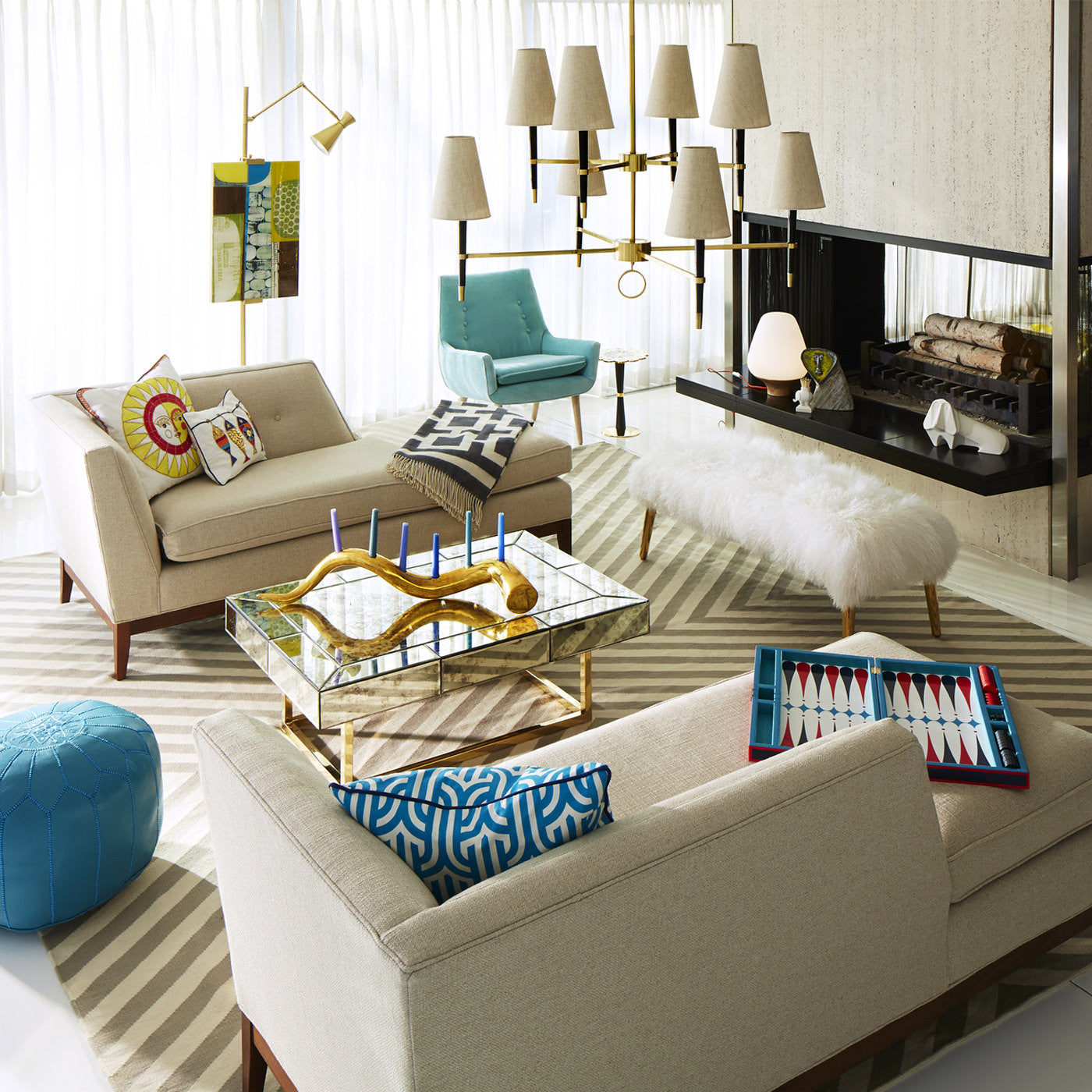 Jonathan Adler presents the Ventana Two-Tier Chandelier in living room