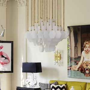 jonathan adler vienna large chandelier brass in room