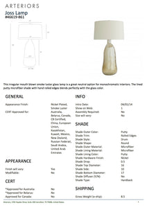 Arteriors home joss table lamp tearsheet
