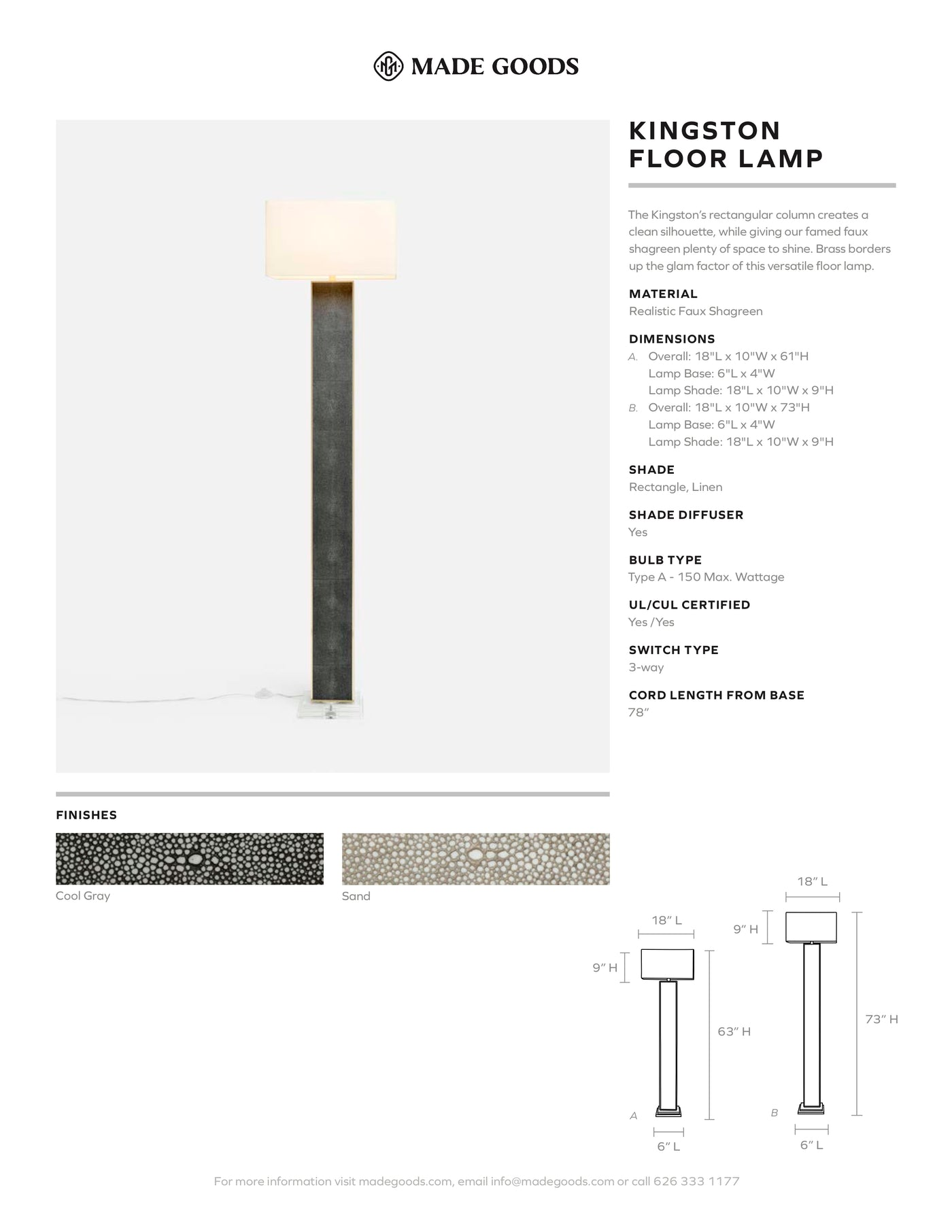 made goods kingston floor lamp realistic faux shagreen tear sheet