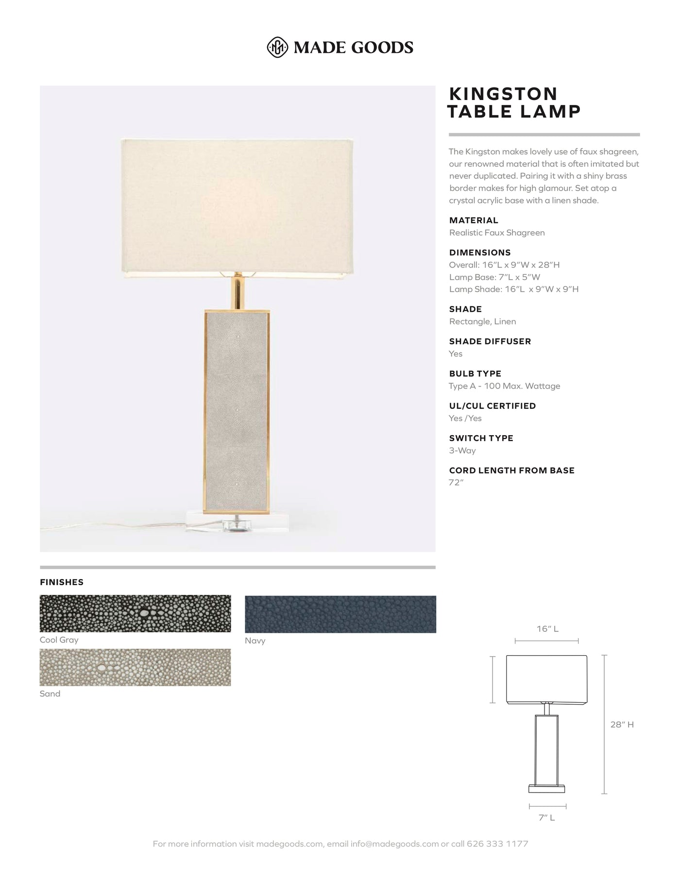 Made Goods Kingston Table Lamp Cool Gray Faux Shagreen