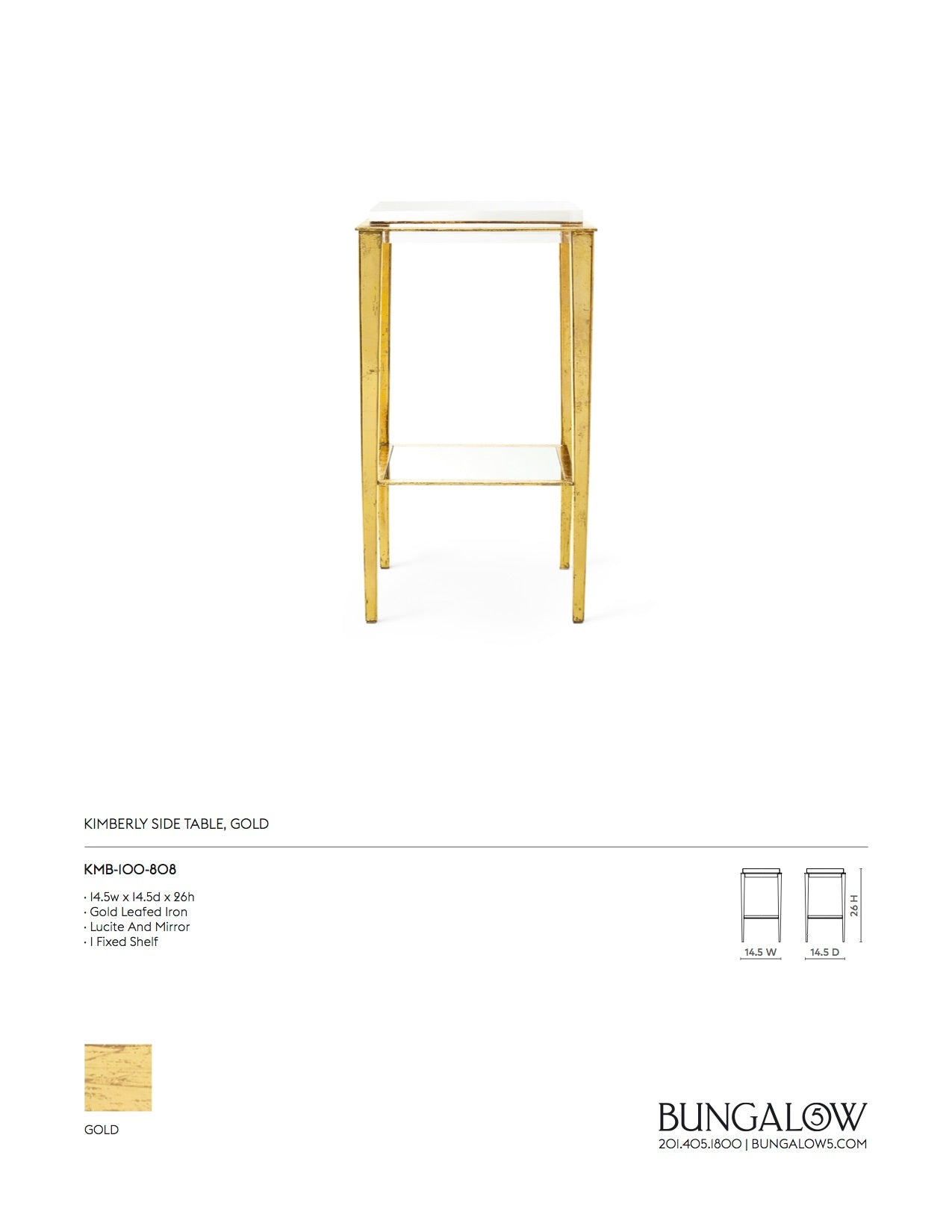 Bungalow 5 Kimberly Side Table Tearsheet