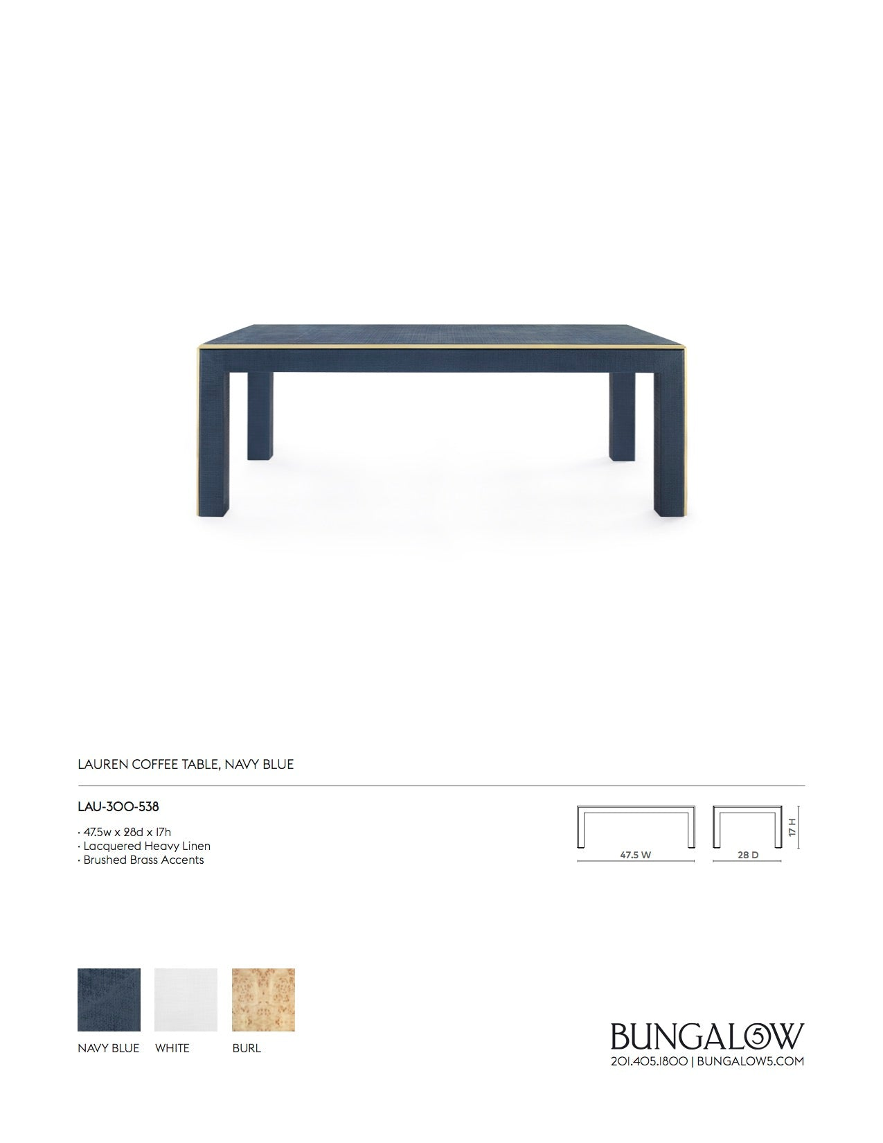 Bungalow 5 Lauren Coffee Table Navy Blue Tearsheet