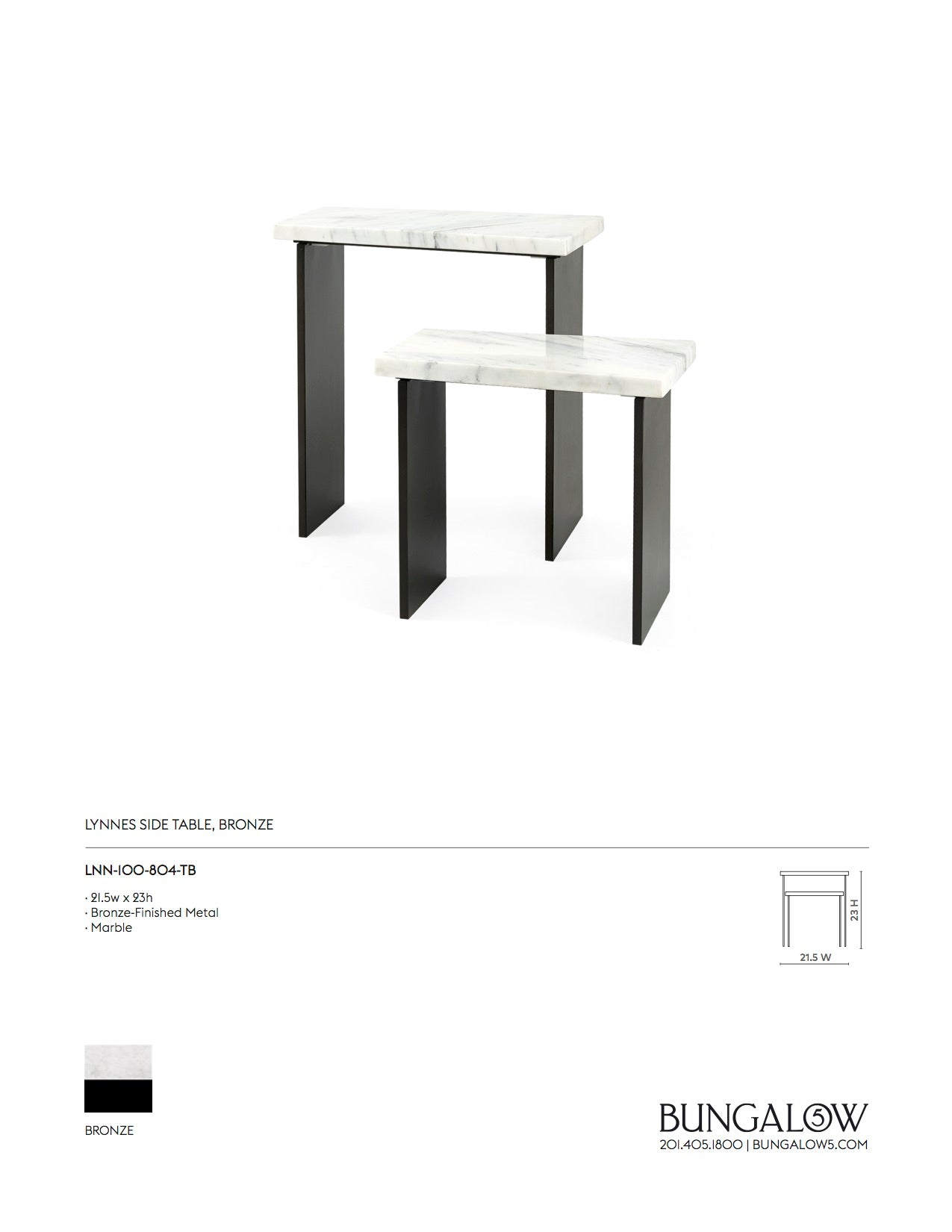Bungalow 5 Lynnes Side Table Tearsheet