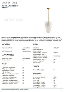 Arteriors Home Larie Chandelier Seeded Glass pendant tearsheet
