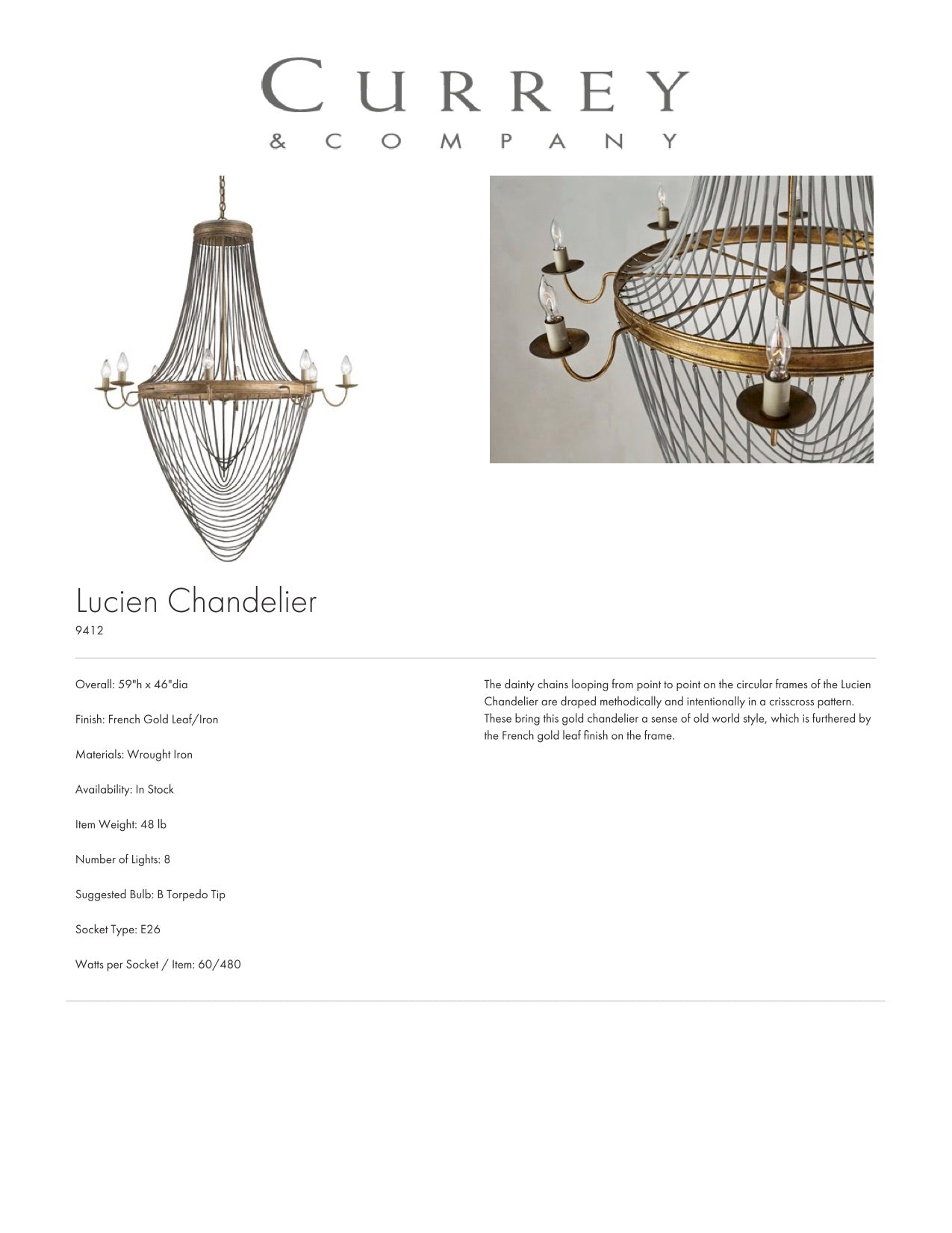 Currey & Company Lucien Chandelier Tearsheet