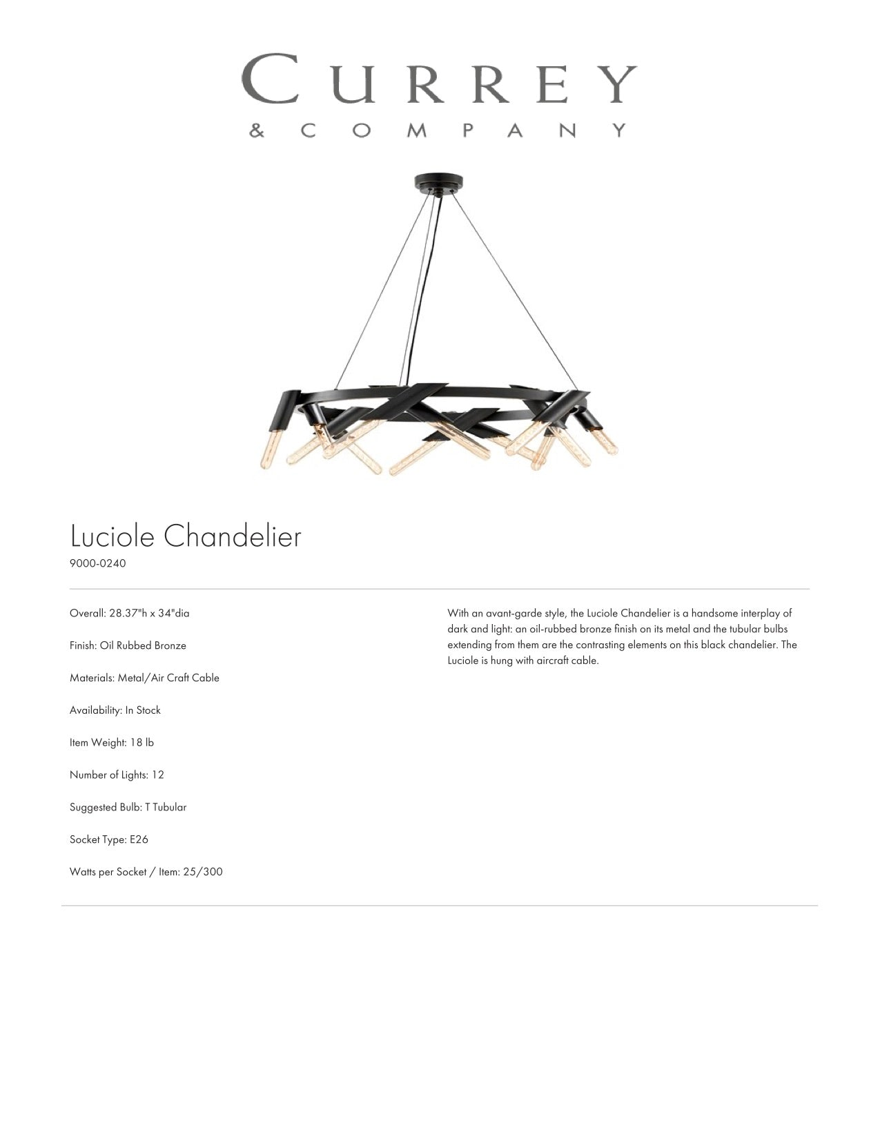Currey & Company Luciole Chandelier Tearsheet