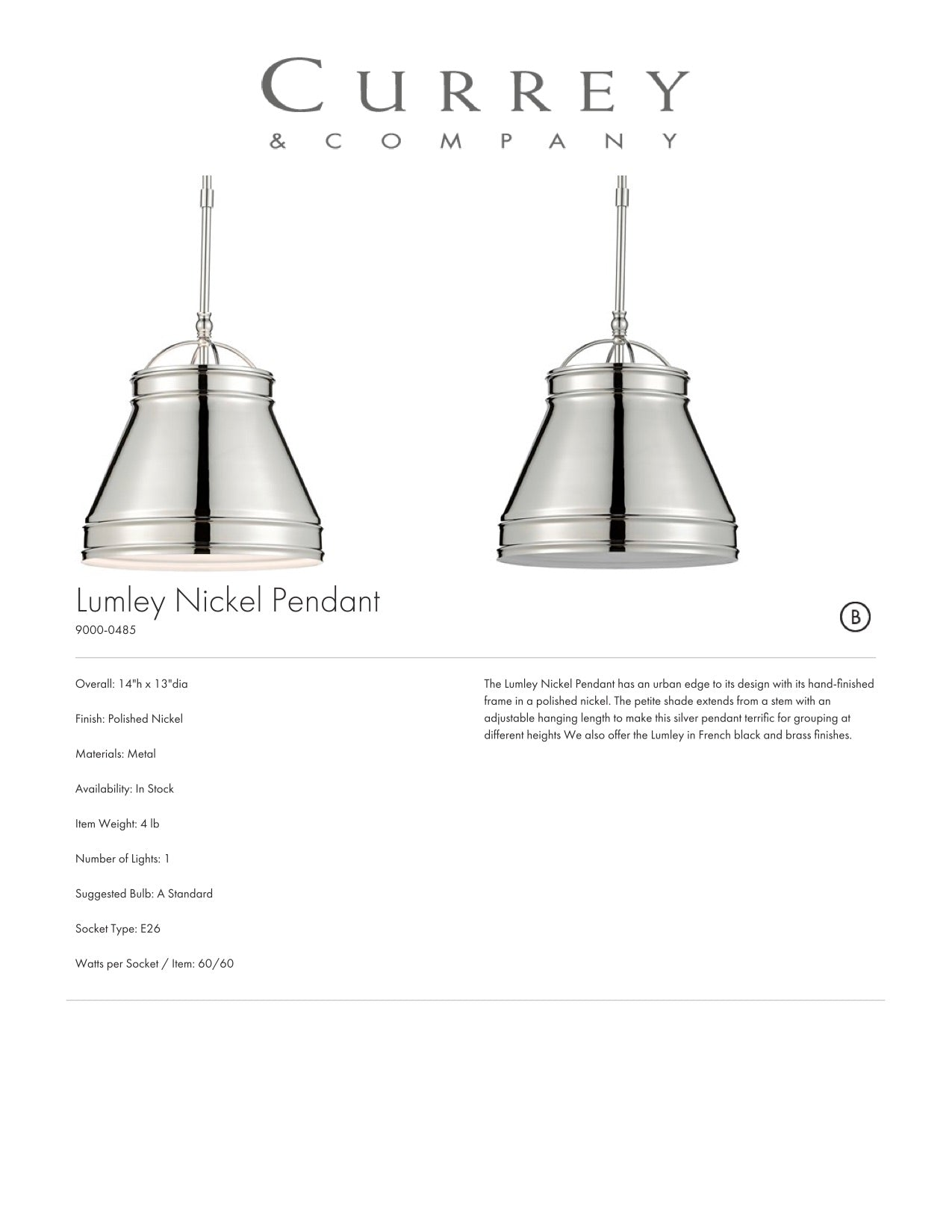 Currey & Company Lumley Nickel Pendant Tearsheet