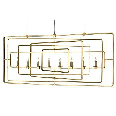 currey and company metro rectangular  chandelier gold leaf metal