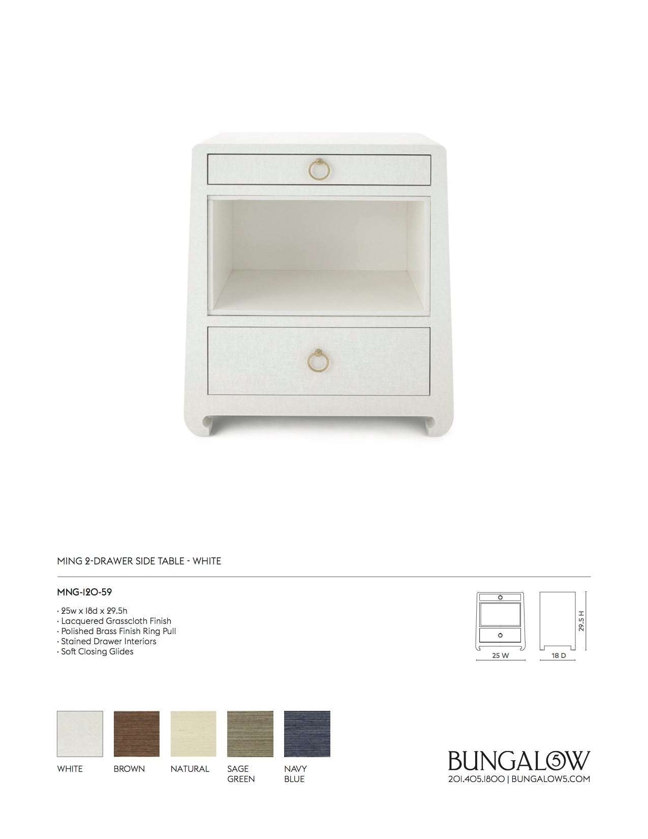 Bungalow 5 Ming 2 Drawer Side Table White Tearsheet