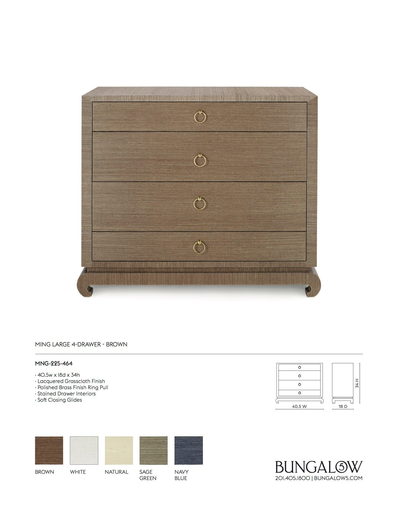 Ming Large 4 Drawer Chest Brown