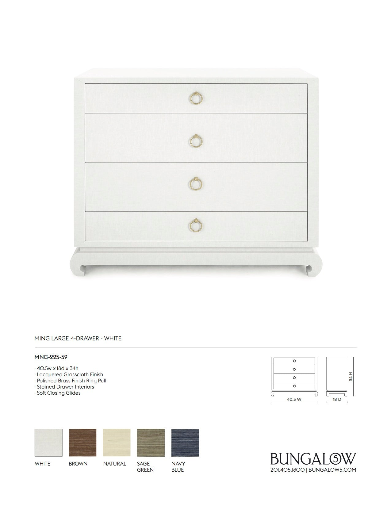 Bungalow 5 Ming Large 4 Drawer Chest White Tearsheet