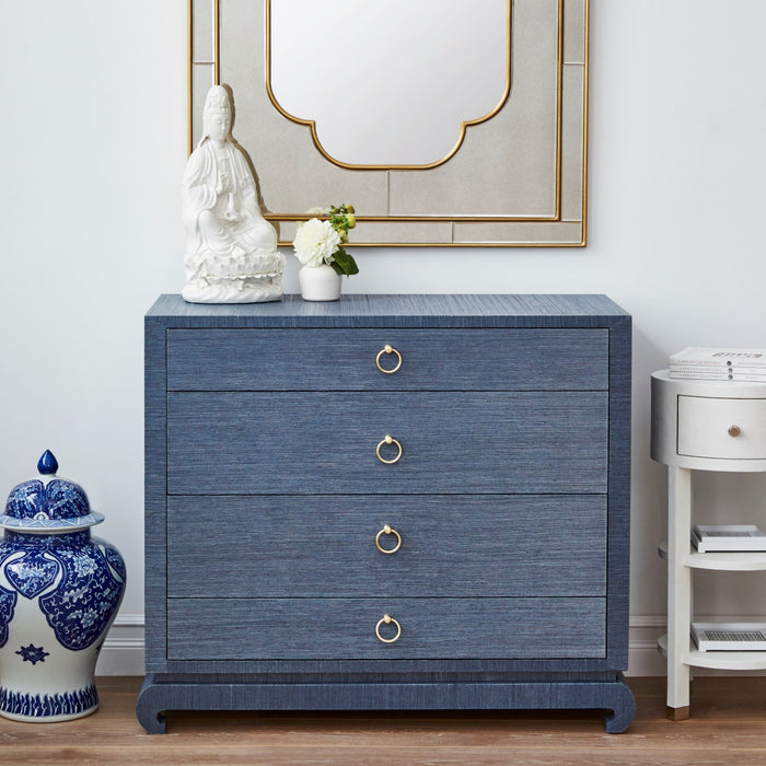 bungalow5 ming 4 drawer nightstand navy blue room view