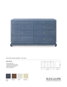 Bungalow 5 Ming Extra Large 8 Drawer Dresser Navy Tearsheet