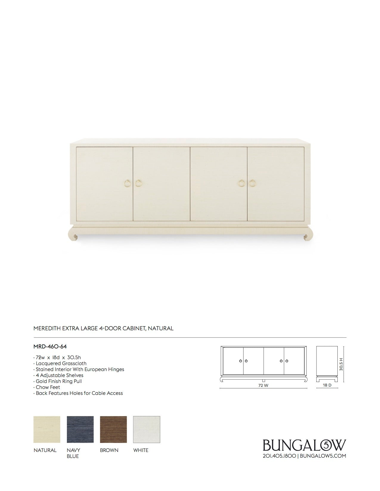 Bungalow 5 Meredith Extra Large 4 Door Cabinet Natural Tearsheet
