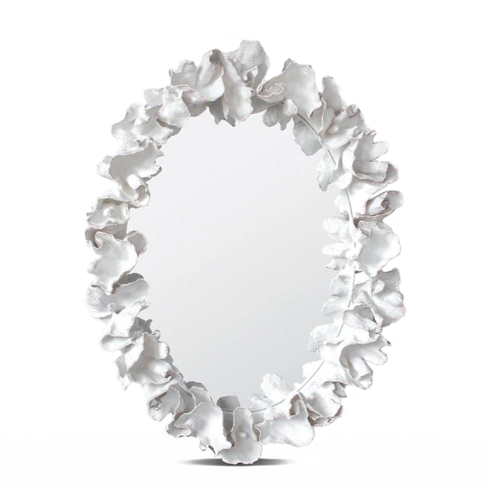 Made Goods Coco Oval Mirror White Coral Silver