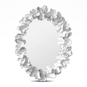 Made Goods Coco Mirror White with Silver Faux Coral oval mirror