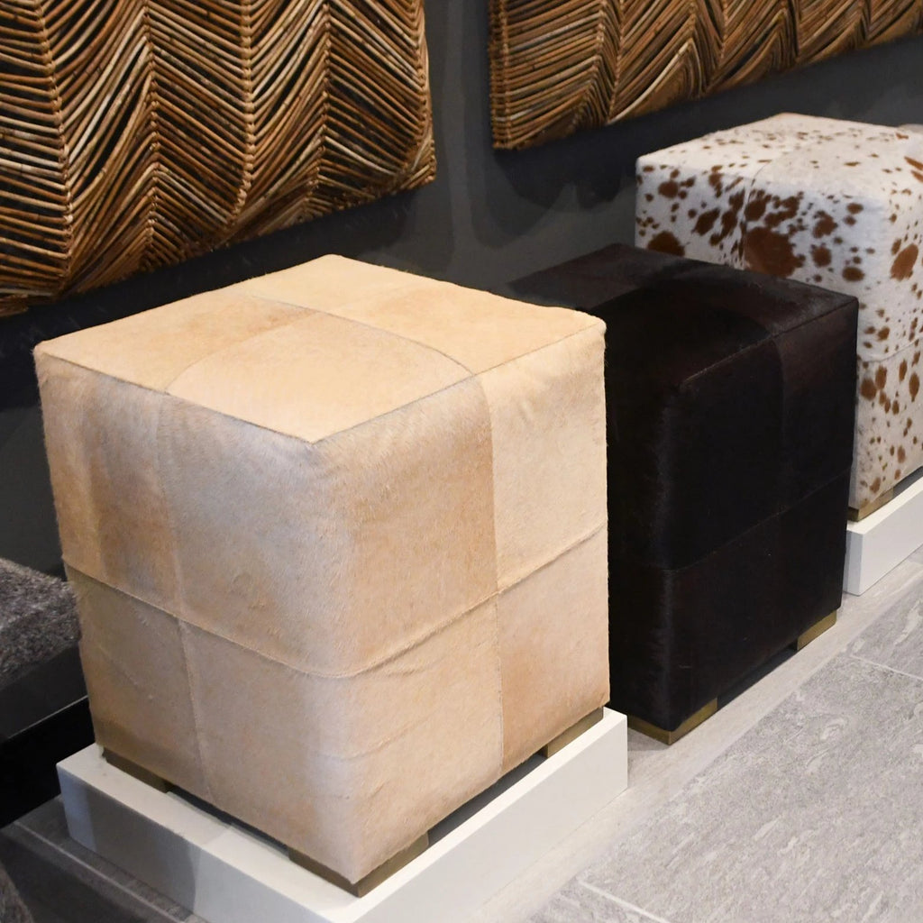 Made Goods Essex Stool Beige Hair On Hide Leather