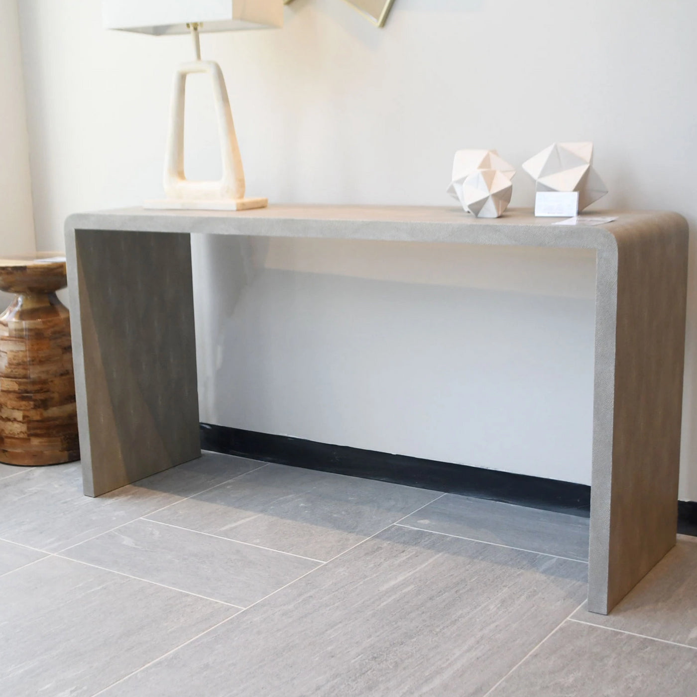 "Made Goods Harlow 72"" Waterfall Console Sand"