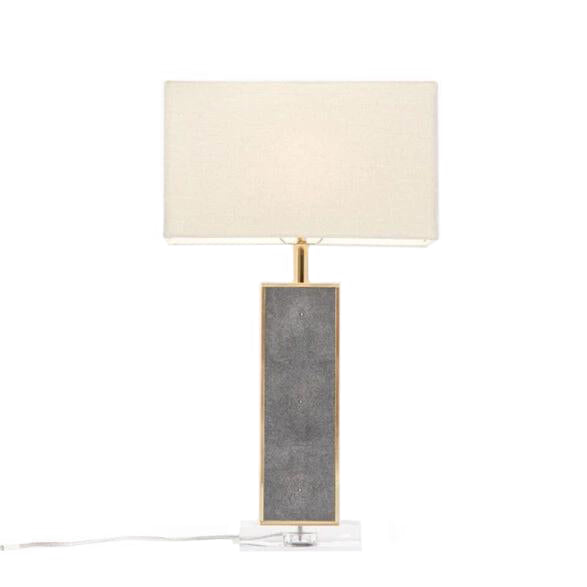 made goods kingston table lamp cool grey gray faux shagreen modern table lamp living room table lamp