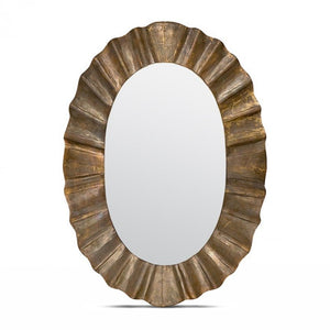 Made Goods Lara Oval Mirror Warm Golden Tin