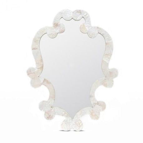 Made Goods Mabel Oval Wall Mirror Kabibe Shell white pristine