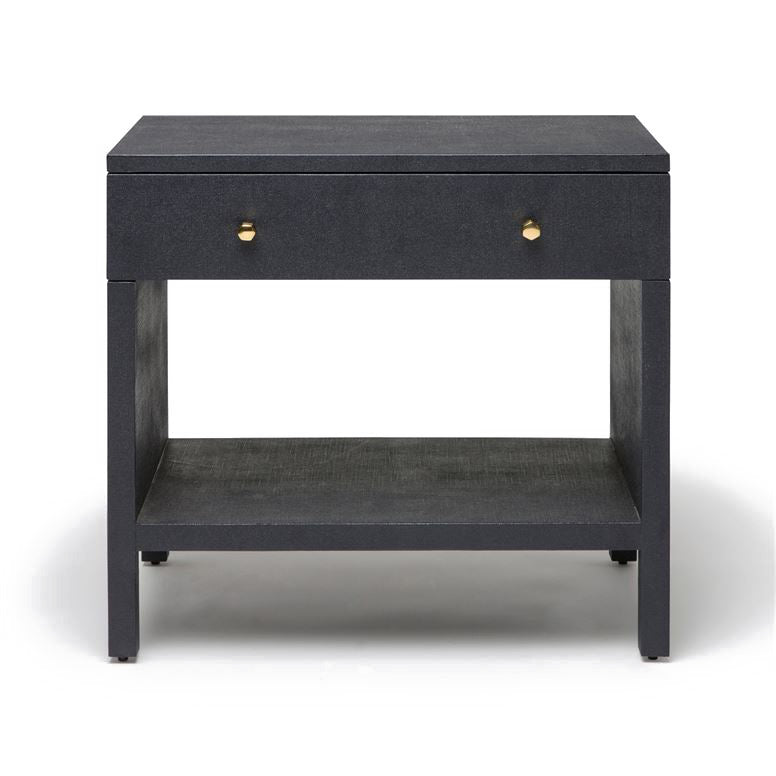 Maris Double Nightstand Dark Navy Faux Belgian Linen