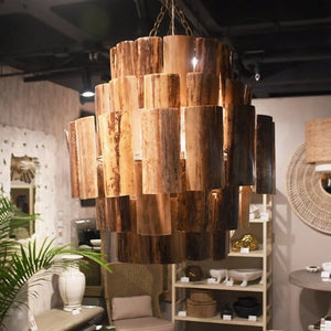 Made Goods Marjorie Chandelier Dark Natural Banana Bark lifestyle