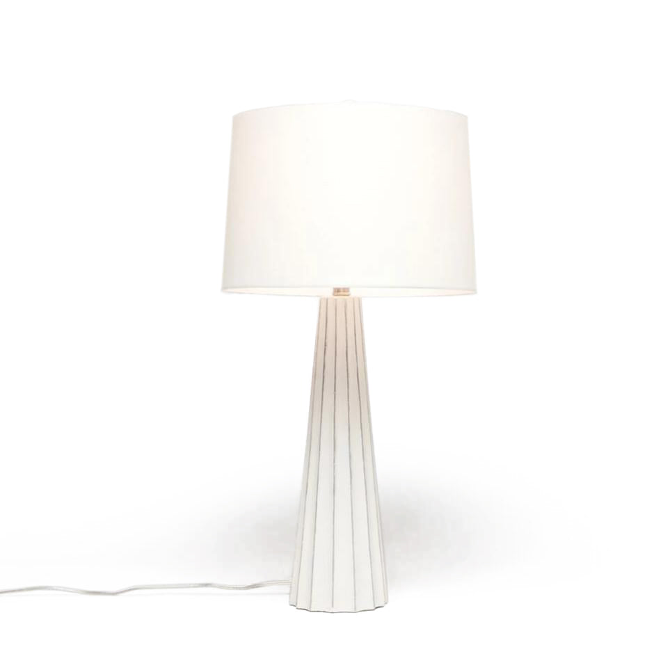 Made Goods Nova Table Lamp White Cement & Silver Leaf