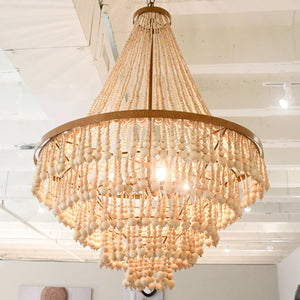 made goods pia large chandelier gold wood beads PIA LARGE
