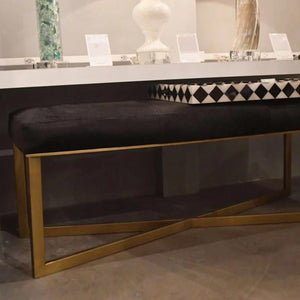 Made Goods Roger Double Bench Dark Brown Hide with Antique Brass Base Lifestyle