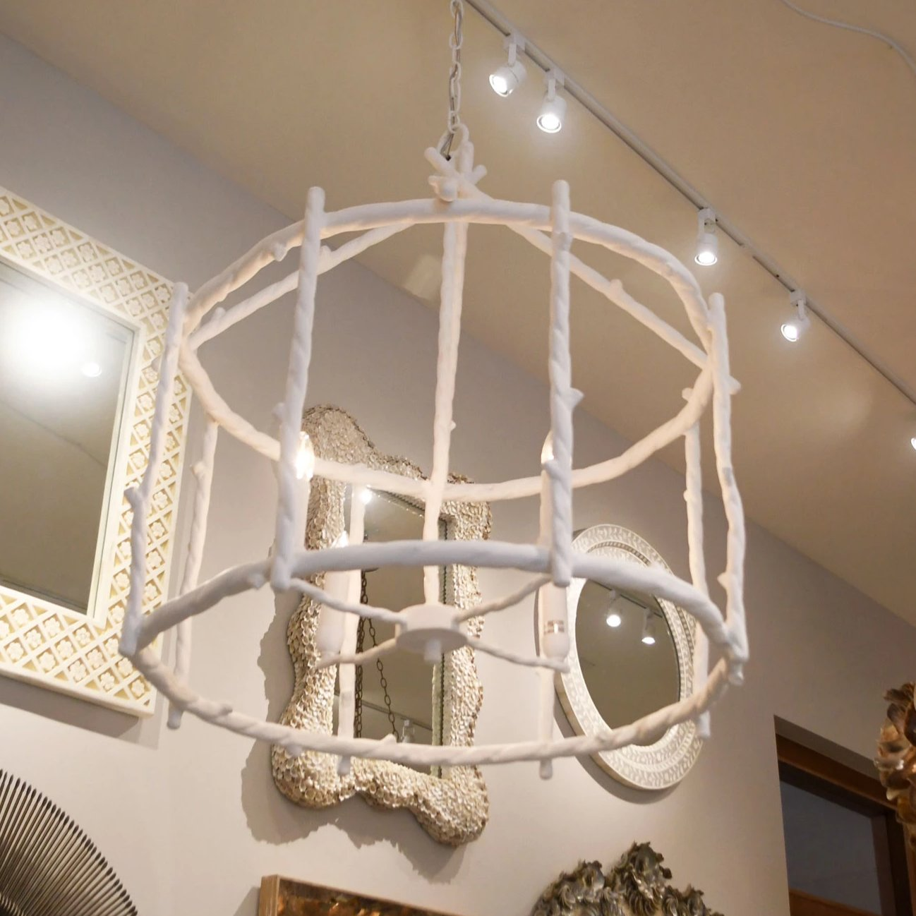 made goods trina twig chandelier round white metal pendant hanging light fixture