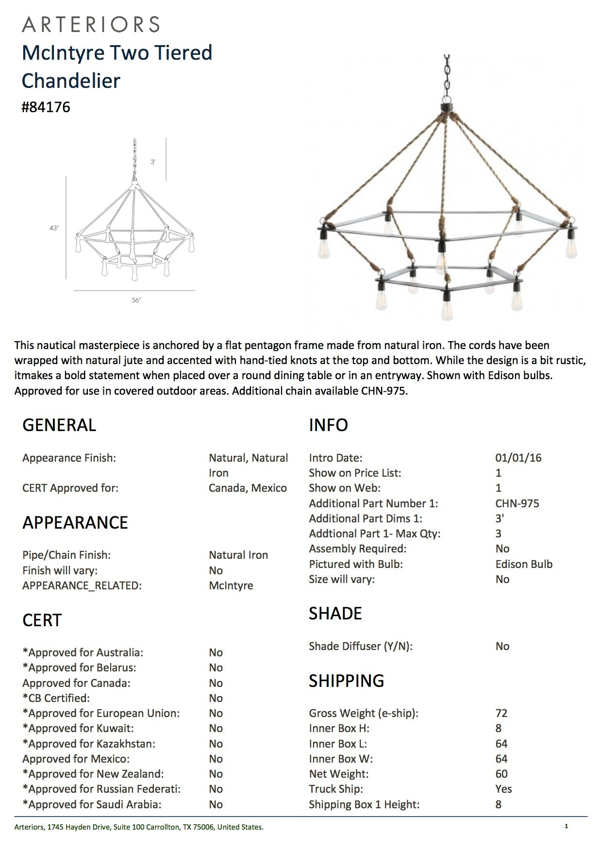 Arteriors Home McIntyre Two Tiered Chandelier Iron Rope Tearsheet