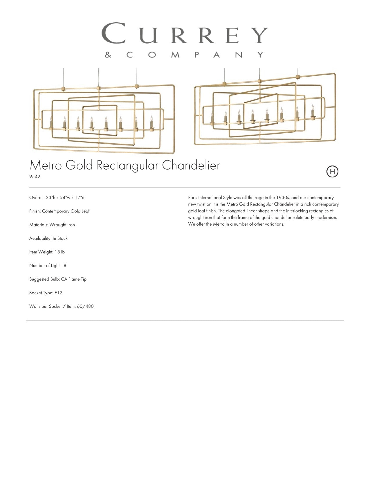 Currey & Company Metro Gold Rectangular Chandelier Tearsheet