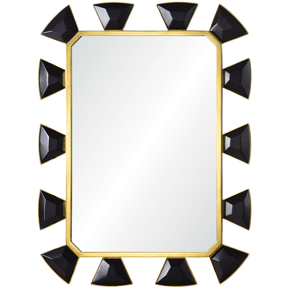 Mirror Image Home Black Leather Burnished Brass Mirror Celerie Kemble