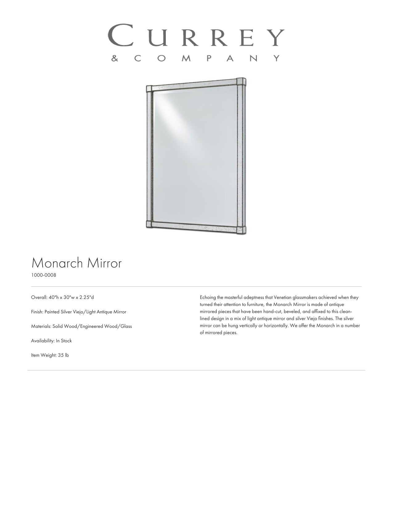 Currey & Company Monarch Wall Mirror Rectangular Tearsheet