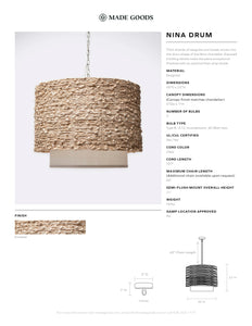 made goods nina knotted seagrass drum lighting chandelier hanging light fixture