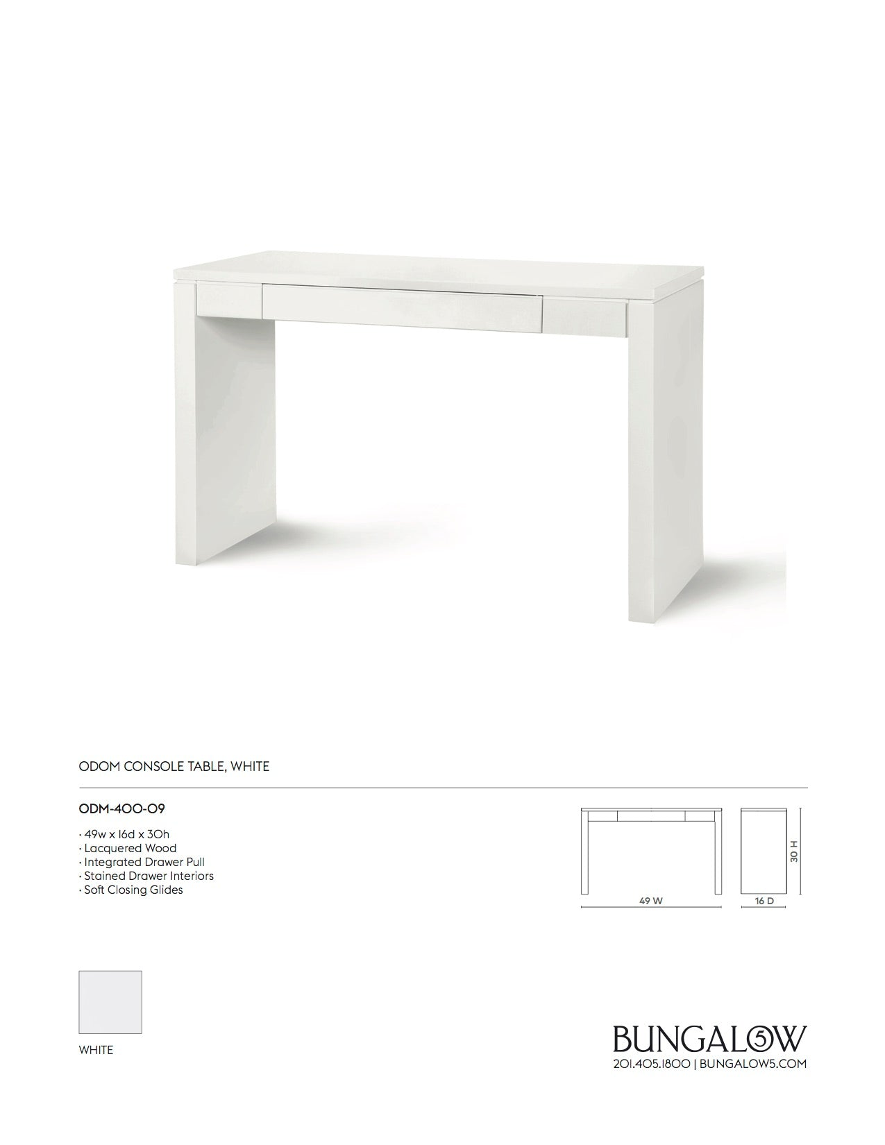 Bungalow 5 Odom Console Table White Tearsheet