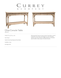Currey & Company Olisa Console Table Tearsheet