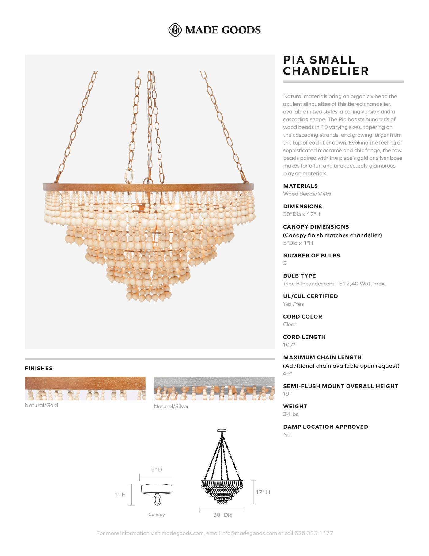Made Goods Pia Ceiling Chandelier Tear Sheet