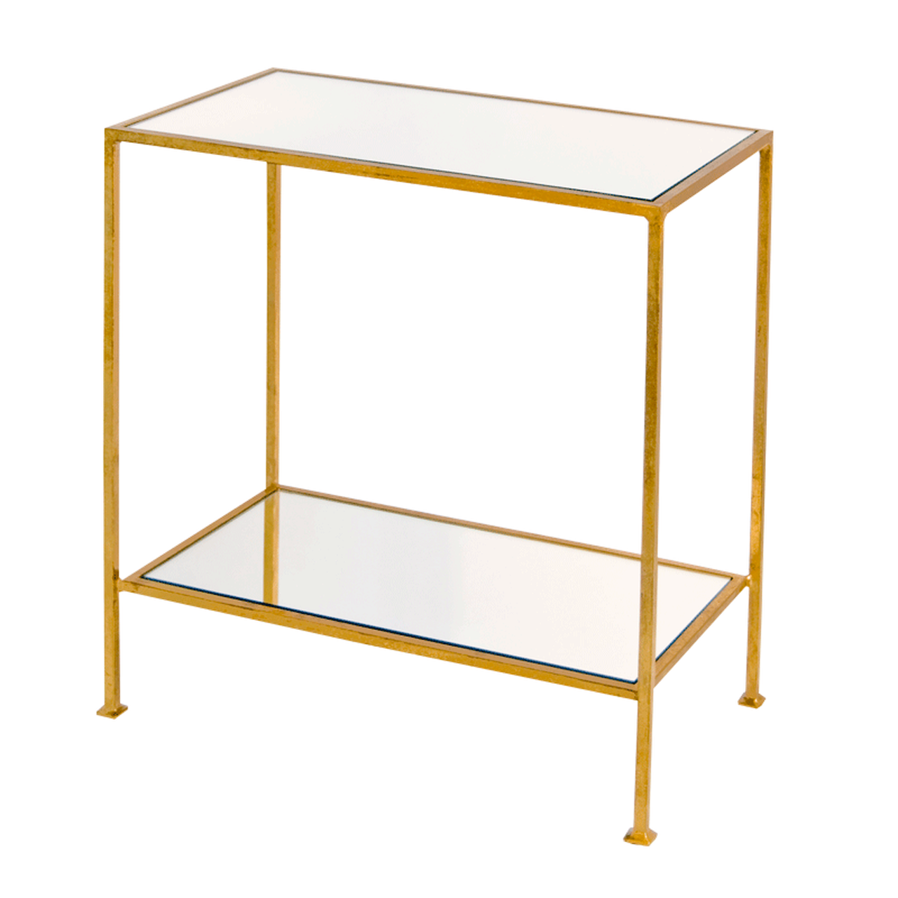 worlds away PLANO 2 tier side table gold leaf mirror top front view